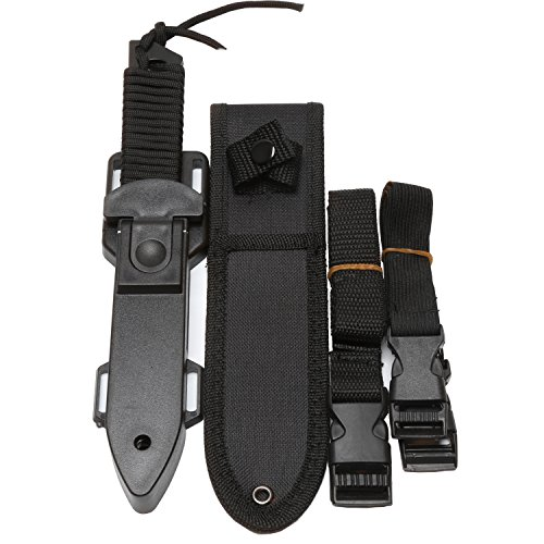 BOffer Scuba Diving Knife Black Tactical Sharp Blade knives Divers dive tool with 2 Types Sheaths,Sawing Edge and 2 Pairs Leg Straps Best for Snorkeling,Hunting,Survival Rescue and Water Sports.