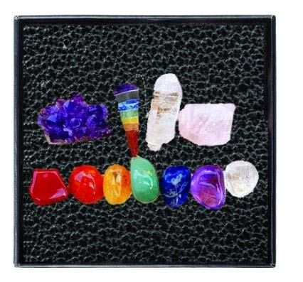 Sharvgun Premium Healing Crystals Gift Kit in Box - 7 Chakra Set Tumbled Stones, Crystal Pendulum, Crystal Points, Rose Quartz, Amethyst Cluster- Gift Ready ()