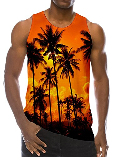 Loveternal 3D RVCA Tank Top Beach Realistic Palm Trees Funny Digital Printed Graphic Tees Men's Summer Tank Tops Orange Summer Novelty Bodybuilding Ringer Crewneck Sleeveless T-Shirts S