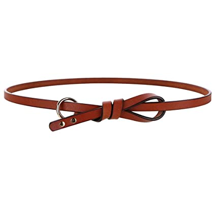 8362f77575c91 AUMING Women's Fine Belt Vintage Cowhide Leather Rivets Circle Knotted Belt  Dress Dressing Tape Suitable For