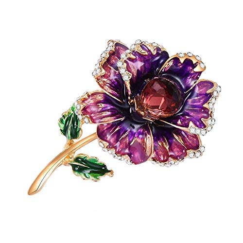VKTECH Flower Brooch Faux Pearl Scarf Pin Acrylic Brooches Costume Lapel Jewelry Charms Gift (Purple Flower)