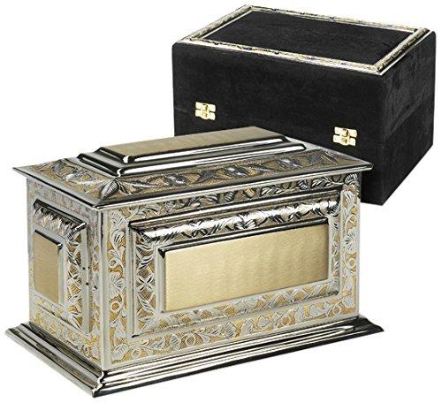 Elegante Beautifully Crafted Renaissance Silver Gold Cremation Urn with Silver Gold Border Trim Elegant Velvet Case