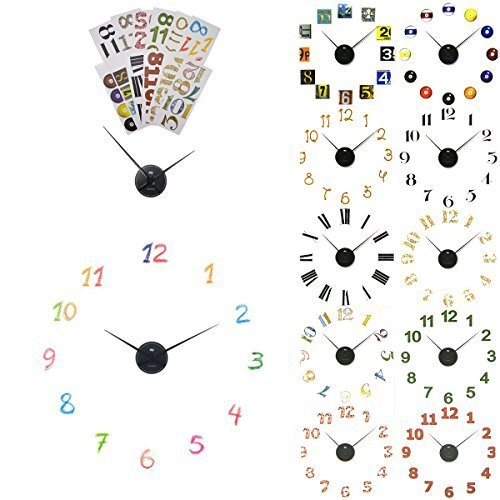 (2 Pack Sterling Noble Decorative DIY Wall Clock Kits Number Stickers Black Hands Part Art Decor)