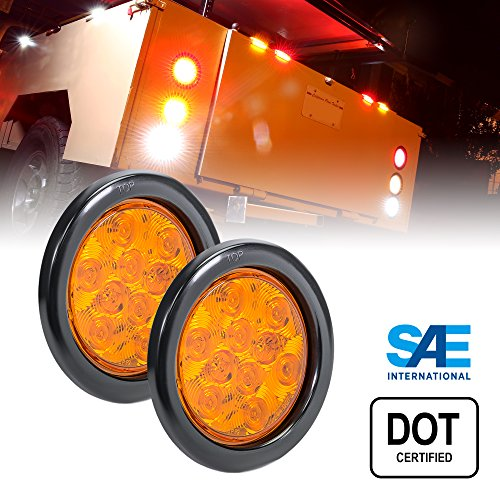 iler Tail Lights - AMBER Park Turn Trailer Lights For RV Jeep Trucks (DOT Certified, Grommet & Plug Included) ()