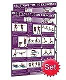 "Resistance Tubing Poster Set of 2 Laminated Poster/Chart: Training - Resistance Tubing Workout Chart -Resistance Tubing Workout, Fitness Poster - Fitness 24""x36"""