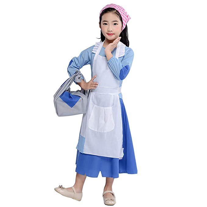 Amazon.com: Disfraz de niña colonial pobre Pioneer Pilgrim ...