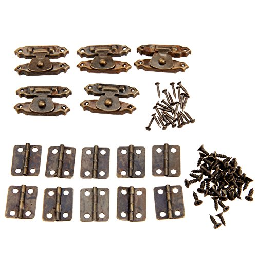 Dophee 5pcs Antique Bronze Antique Cabinet Door Latch Hasps Decorative with 10Pcs Retro Door Hinges (Doors Retro)