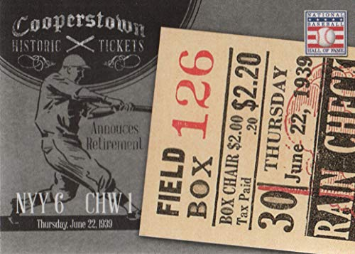 - 2013 Panini Cooperstown Baseball Historic Tickets #21 Lou Gehrig NY Yankees