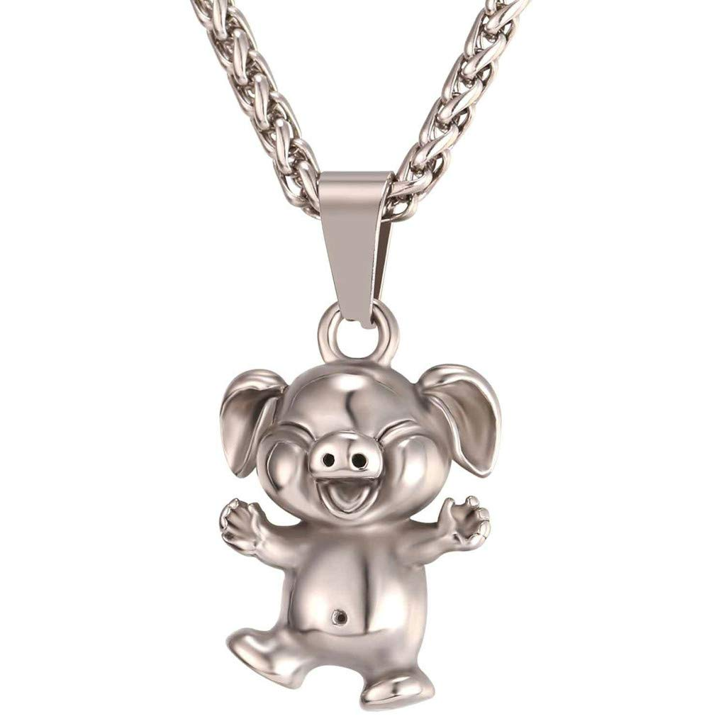 Staron Animal Print Necklace For Women Year Of The Pig Cute Little Necklace Gold Color Stainless Steel Chain Forever Love Heart Pendant Necklace Gift for Women Girls (Silver)