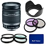 Canon EF-S 18-200mm f/3.5-5.6 IS Standard Zoom Lens for Canon DSLR Cameras + 72mm 3 Piece Filter Kit + Close Up Macro Set + Tulip Lens Hood
