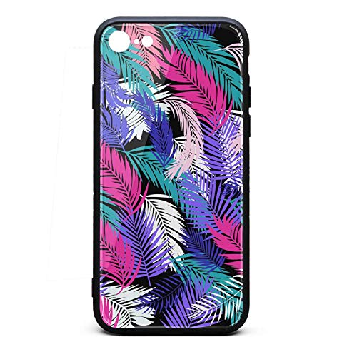 - Phone Case for iPhone 8/iPhone 7 Cool Tropical Palm Leaves Purple Black Tempered Glass Black Anti-Scratch TPU Rubber Bumper Shock Protector for Young Men Back Cover