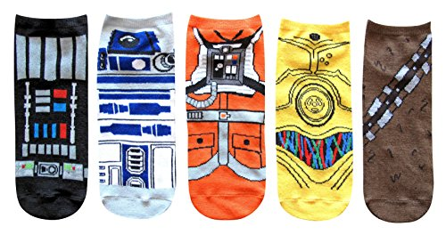 Star Wars Costume Suit Up Juniors/Womens 5 Pack Ankle Socks Size