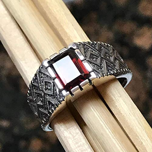 Natural 2ct Pyrope Garnet 925 Solid Sterling Silver Emerald Cut Men's Ring sz 12