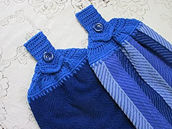 Set of 2 Royal Blue Doubled Chevron Design Hanging Kitchen Towels with Royal Blue Cotton Crochet Top - Best Quality Towels