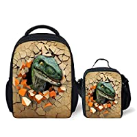 INSTANTARTS 3D Dinosaur Kindergarten School Backpack Set with Lunch Box 2 PCS