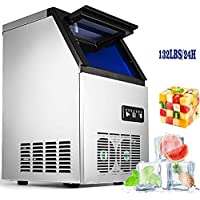 VEVOR 110V Commercial Ice Maker 280W Stainless Steel Ice Cube Maker Machine 132LBs Ice Making Machine for Home Supermarkets Cafes Bakeries Bars Restaurants Snack Bars (Production 132lbs/24h)