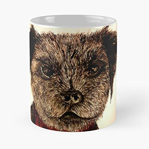 Dog Border Terrier Hand Drawn Pen And Ink - Morning Coffee Mug Ceramic Novelty, Funny Gift