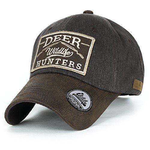 ililily Deer Hunt Wild Life Logo Baseball Cap Collection, 1608 Brown - Military Cap Collection
