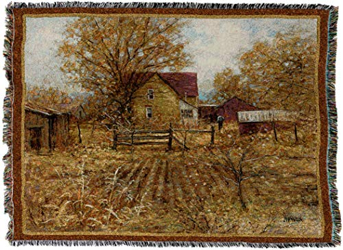 Pure Country Weavers - Homestead Farm Woven Tapestry Throw Blanket with Fringe Cotton USA Size 72 x 54 from Pure Country Weavers