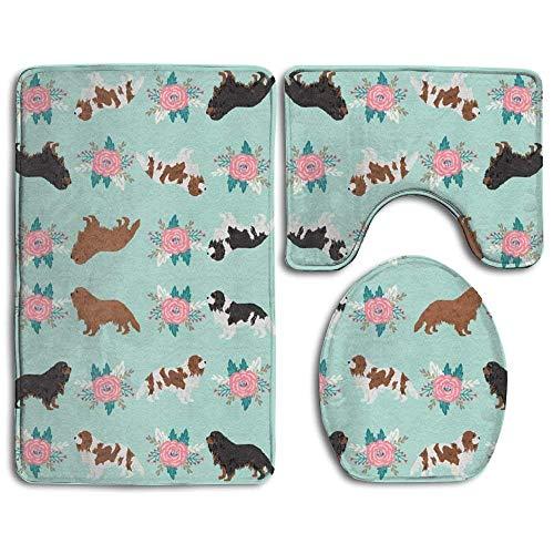 VANKINE Cavalier King Charles Spaniel Dogs Cute Dog 3 Piece Bath Mat Set Toilet Rug Bathroom Contour Mat Non-Slip Washable Rubber Backing