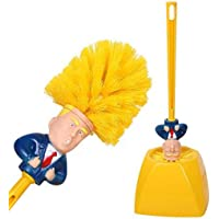 QKWSUGER Donald Trump Toilet Brush and Base - Toilet Scrubber Cleaner Plastic Bathroom Supply Yellow