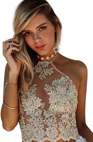 Simplee Apparel Women's Halter Neck Tank Crop Top Sleeveless Lace Vest Bustier