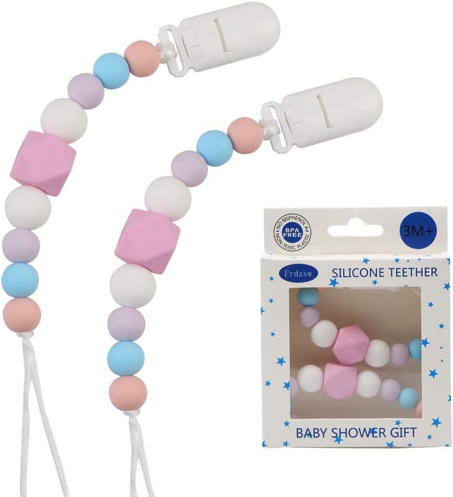 Azul Chupetes de Clip Beb/é Clips para chupete de silicona,Cadena de chupete,BPA Free