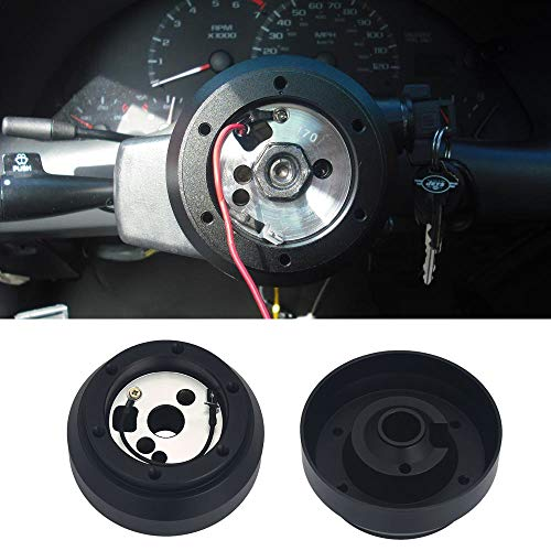Kyostar Black Steering Wheel Hub Adapter Boss Kit, Aluminum Steering Wheel Hub Adapter Kit For Jeep Chevrolet GM Dodge Buick Aluminum Steering Wheel Adapter