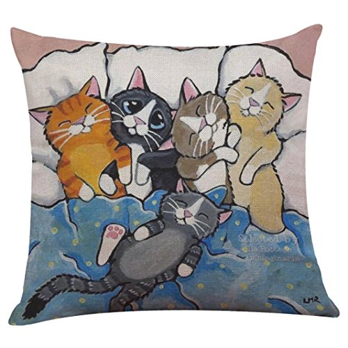 Pillow Case,Bokeley Linen Cotton Square Cute Cat Print Decorative Throw Pillow Case Bed Home Decor Car Sofa Waist Cushion Cover (F)