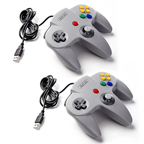 2 Pack kiwitatá Nintendo Classic N64 USB Controller Retro N64 Bit Wired PC Controller for Windows PC & Mac Raspberry Pi Gray