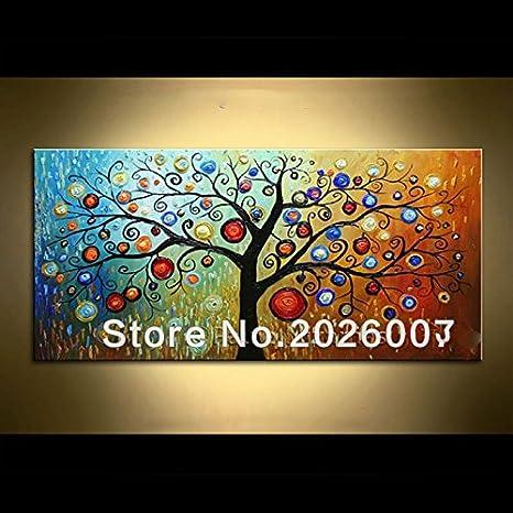 Dipinto a mano pittura di paesaggio paesaggio astratto palette Magic Tree House Wall soggiorno arte, Tela, 24x48inch(60x120cm) Orlco Art