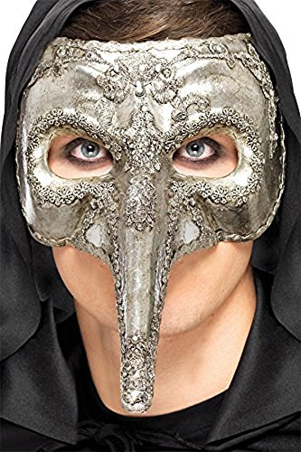 Zombie Clown Costume Uk (Smiffy's Men's Venetian Eye mask, Silver, One Size, Luxury Venetian Capitano Mask, 27855)