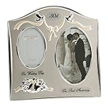 """Two Tone Silverplated Wedding Anniversary Gift Photo Frame - """"30th Pearl Anniversary"""