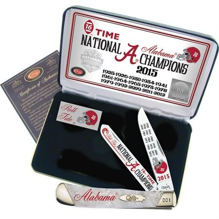 Case Cutlery AL15-CAPWP 2015 Alabama Football National Championship Case White Pearl Slant Bolster Corelon Trapper Gift Set by Case
