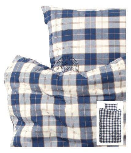 Blue and White Plaid Duvet Cover and Pillowcase 2pc Set Twin Single Size 100% Cotton 190tc Check