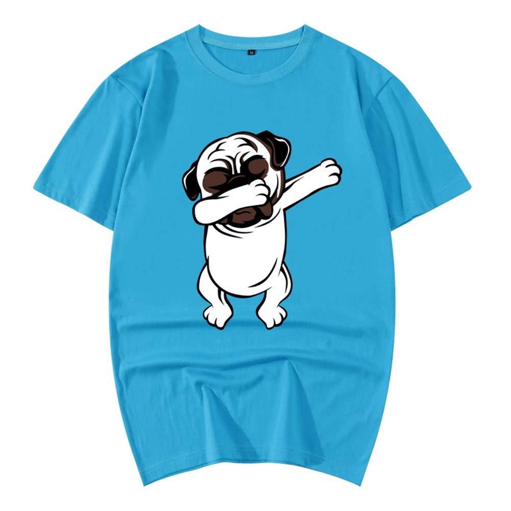 3D-Pullover 2018 Rotes Kleid Baumwolle Sommer Kurzarm T-Shirt Lose 3D Tier Muster Herren Hemd 195   4XL Cyan 4