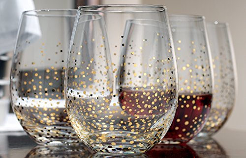 4 Holiday Gold Fizz Stemless Wine Glasses Christmas Drinking Glassware