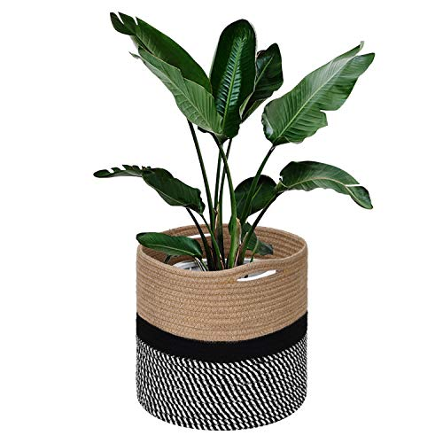 - Jute Rope Plant Basket Cotton Woven Basket for 10 Inch Indoor Flower Pot, 11.8 Inch×11.8 Inch Woven Storage Basket Organizer with Handles Beige, Black and White Stripes