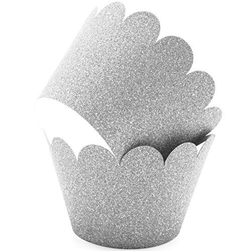 (Glitter Cupcake Wrappers Adjustable, Reusable - 50 Count (silver))