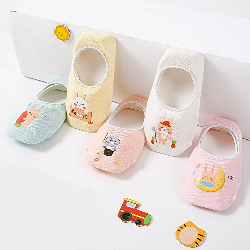 Toddler Non Skid No Show Socks - Low Cut Anti Slip Grip Slippers for Baby Kids Boys Girls 10 Pairs (5-6T, Rabbit) by Junoai (Image #3)