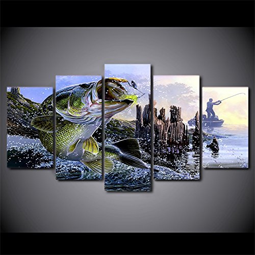 [Medium] Premium Quality Canvas Printed Wall Art Poster 5 Pieces / 5 Pannel Wall Decor largemouth bass fishing Painting, Home Decor Pictures - With Wooden Frame