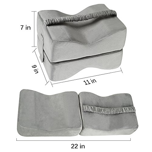 TTLIFE Sciatic Nerve Pain Relief Knee Pillow Orthopedic Doctor Recommend for Sciatica, Back Pain, Leg Pain, Pregnancy, Hip and Joint Pain - Memory Foam Cushion with Washable Cover,Grey by TTLIFE (Image #2)