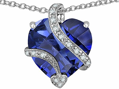 Star K Large 15mm Heart Shape Simulated Tanzanite Love Pendant Necklace Sterling Silver