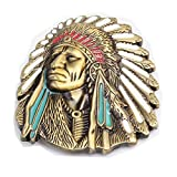 MASOP Native American Indian Warrior Chief Belt Buckle Casual Mens Belt Buckle Rings