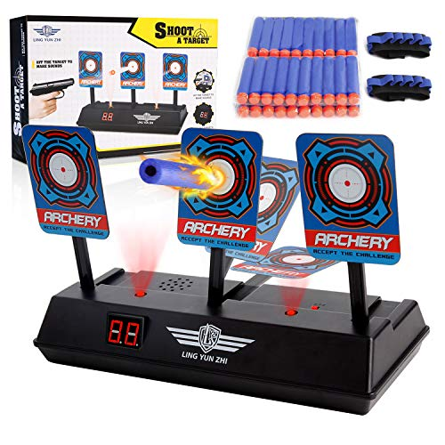 MASCARRY Electric Scoring Auto Reset Shooting Digital Target for Nerf Guns Blaster Elite/Mega/Rival Series with 40 Pcs Refill Darts and 2 Hand Wrist Bands (Target For Gun)