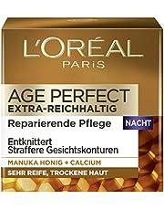 L'Oréal Paris Age Perfect Nachtverzorging, Anti-Aging Gezichtsverzorging, Ontkreukelt En Strak, Voor Zeer Rijpe En Droge Huid, Met Manukahoning En Calcium, 50 ml