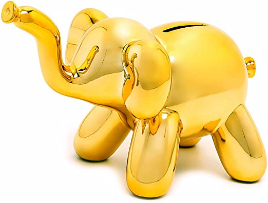 Unique Piggy Bank Gift for Cool Kids and Adults Baby Elephant Made By Humans Balloon Money Bank Silver