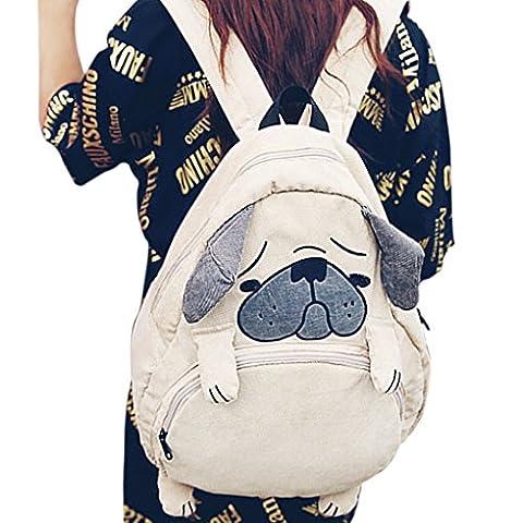 Girls Casual Embroidery Travel Daypack School Backpack Rucksack Shoulder Bag size One Size (Pug) - Corduroy Womens Shoulder Bag