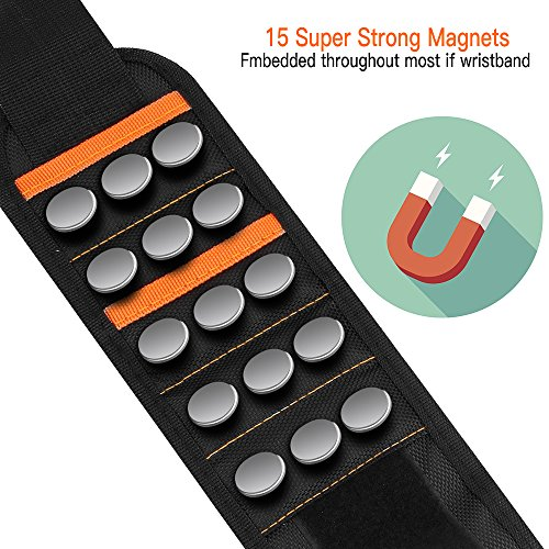 Magnetic Wristband, with 15 Strong Magnets Tools Belt Adjustable Wrist Strap for Holding Tools Screws Nails Drilling Bits Best Gifts for Men, DIY Handyman Electrician Husband Father and Family