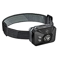 HiHiLL Head Torch with IR Sensor Switch, 4 Modes, Waterproof, Adj...
